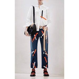 Christopher Kane Painted Tape Boyfriend Jeans